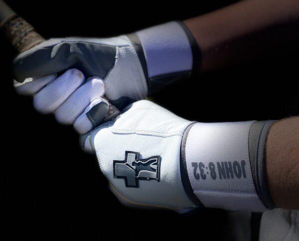 White Baseball Truth Batting Gloves
